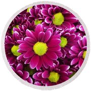 Purple Yellow Flowers Round Beach Towel