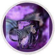 Purple Zebra Round Beach Towel