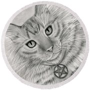 Round Beach Towel featuring the drawing Purrfect Page Of Pentacles - Tarot Card Art by Carrie Hawks