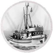 Purse Seiner Western Flyer On Her Sea Trials Washington 1937 Round Beach Towel