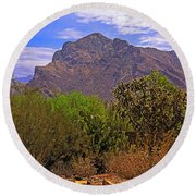 Round Beach Towel featuring the photograph Pusch Ridge Morning H10 by Mark Myhaver