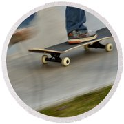 Pushing Off On A Skateboard Round Beach Towel by Kae Cheatham