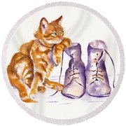 Puss 'n Boots Round Beach Towel