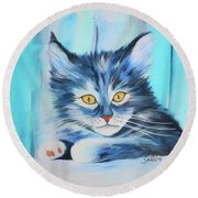 Round Beach Towel featuring the painting Pussy Cat by Jutta Maria Pusl