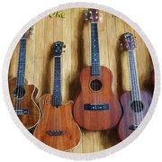 Put A Little Uke In Your Life Round Beach Towel