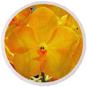 Put On A Happy Face Yellow Orchids Round Beach Towel