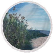 Putting Out To Sea Round Beach Towel