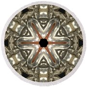 Puzzle In Taupes Round Beach Towel
