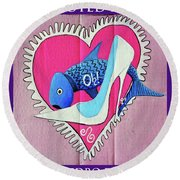 Devoted Fish Round Beach Towel by Don Pedro De Gracia