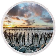 Round Beach Towel featuring the photograph Pylons Mill Sunset by Greg Nyquist