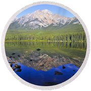 Pyramid Lake Reflection Round Beach Towel