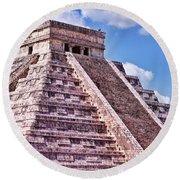 Pyramid Of Kukulcan At Chichen Itza Round Beach Towel