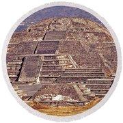 Pyramid Of The Sun - Teotihuacan Round Beach Towel