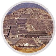 Pyramid Of The Sun - Teotihuacan Round Beach Towel