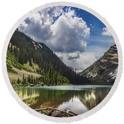 Pyramid Peak, Maroon Bells, And Crater Lake Panorama Round Beach Towel