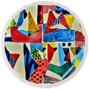 Round Beach Towel featuring the digital art Pyramid Play by Mindy Newman