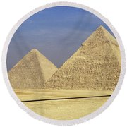 Pyramids At Giza Round Beach Towel