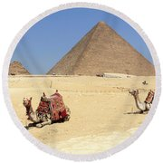 Round Beach Towel featuring the photograph Pyramids Of Giza by Silvia Bruno