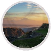 Qasakh Gorge And Ararat Mountain At Golden Hour Round Beach Towel