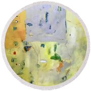 Round Beach Towel featuring the painting qq by Chris Gholson