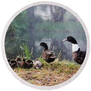 Quack Quack Ducks And A Pond Round Beach Towel
