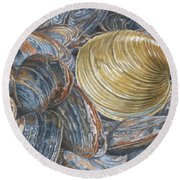 Quahog On Clams Round Beach Towel