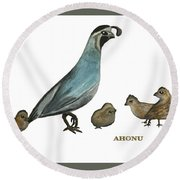 Quail Family Round Beach Towel