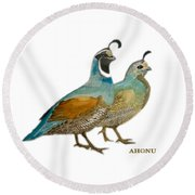 Quail Pair Round Beach Towel