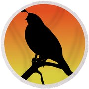 Quail Silhouette At Sunset Round Beach Towel