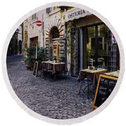 Quaint Cobblestones Streets In Rome, Italy Round Beach Towel