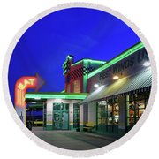 Round Beach Towel featuring the photograph Quaker Steak And Lube by Christopher McKenzie