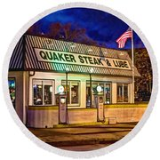 Quaker Steak And Lube Round Beach Towel by Skip Tribby