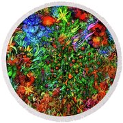 Round Beach Towel featuring the digital art Qualia's Christmas by Russell Kightley