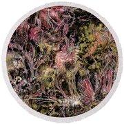 Round Beach Towel featuring the digital art Qualia's Garden Autumn by Russell Kightley