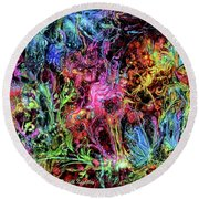 Round Beach Towel featuring the digital art Qualia's Garden Spring by Russell Kightley