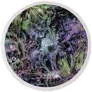 Round Beach Towel featuring the digital art Qualia's Graden Winter by Russell Kightley