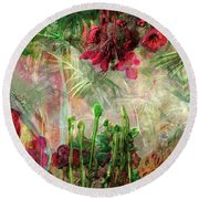 Round Beach Towel featuring the digital art Qualia's Jungle by Russell Kightley