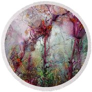 Round Beach Towel featuring the digital art Qualias Meadow by Russell Kightley