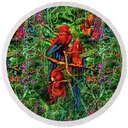 Round Beach Towel featuring the digital art Qualia's Parrots by Russell Kightley