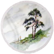 Round Beach Towel featuring the painting Quality Time by Sam Sidders
