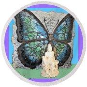 Quan Yin Butterfly Round Beach Towel