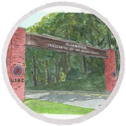 Round Beach Towel featuring the painting Quantico Welcome by Betsy Hackett