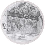 Round Beach Towel featuring the drawing Quantico Welcome Graphite by Betsy Hackett