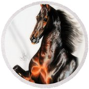 Quantum Of Solace Saddlebred Stallion Round Beach Towel by Cheryl Poland