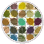 Round Beach Towel featuring the digital art Quarter Circles Layer Project One by Michelle Calkins
