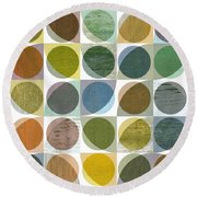 Round Beach Towel featuring the digital art Quarter Circles Layer Project Three by Michelle Calkins