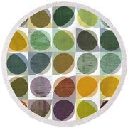 Round Beach Towel featuring the digital art Quarter Circles Layer Project Two by Michelle Calkins