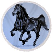 The Black Quarter Horse In Bic Pen Round Beach Towel by Cheryl Poland