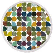 Round Beach Towel featuring the digital art Quarter Rounds And Rounds 100 by Michelle Calkins