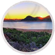 Quartz Mountains And Lake Altus Panorama - Oklahoma Round Beach Towel